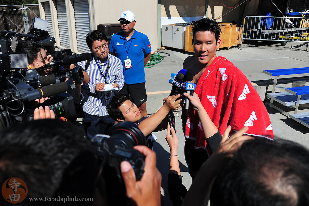 May 31, 2012; Santa Clara, CA, USA; Taehwan Park (KOR) addresses the media after competing during the men's 800-meter freestyle in the Santa Clara international grand prix at the George F. Haines International Swim Center.