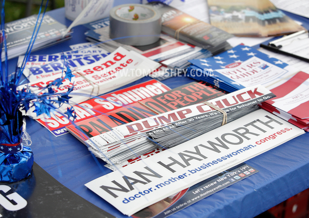 Town of Wallkill, New York - Political stickers and pamphlets on a table during a rally organized by the Orange/Sullivan County 912 Tea Party on Oct. 23, 2010.