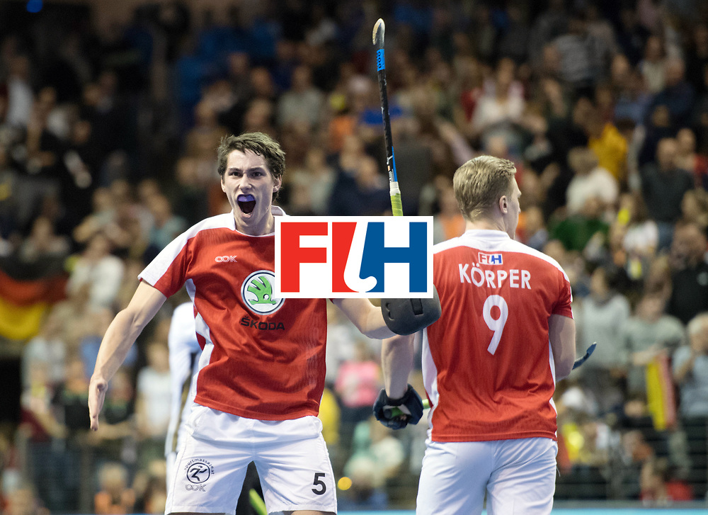 BERLIN - Indoor Hockey World Cup<br /> Final: Germany - Austria<br /> foto: Sebastian Eitenberger and Michael K&ouml;rper <br /> WORLDSPORTPICS COPYRIGHT FRANK UIJLENBROEK
