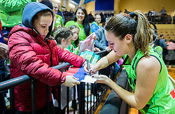 Tina Jakovina of Slovenia celebrate with fans after winning and qualifying during basketball match between Women National Teams of Slovenia and Lithuania in Qualifications of EuroBasket Women 2017, on November 19, 2016 in Gimnazija Celje, Slovenia. Photo by Vid Ponikvar / Sportida