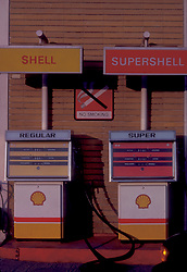 two Shell gas pumps