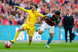Lazar Markovic of Liverpool is challenged by Kieran Richardson of Aston Villa - Photo mandatory by-line: Rogan Thomson/JMP - 07966 386802 - 19/04/2015 - SPORT - FOOTBALL - London, England - Wembley Stadium - Aston Villa v Liverpool - FA Cup Semi Final.