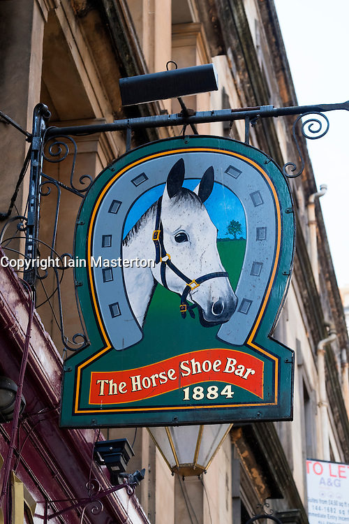 Sign outside famous horseshoe Bar in Glasgow, Scotland, United Kingdom