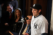 Johnny Damon speaks at a press confrence introducing him to the New York Media New York. Friday 23 December 2005 Andrew Gombert for the Boston Globe