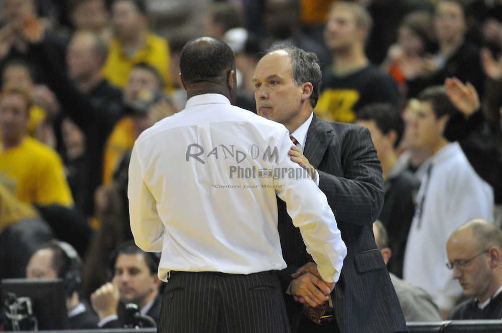 Jan 23, 2010; Columbia, MO, USA; Nebraska Cornhuskers head coach Doc Sadler (Right) congratulates Missouri Tigers head coach Mike Anderson in the second half at Mizzou Arena in Columbia, MO. Missouri won 70-53. Mandatory Credit: Denny Medley-US PRESSWIRE