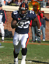 Virginia running back Wali Lundy (33).  The Virginia Tech Hokies defeated The Virginia Cavaliers 52-14 on November 19, 2005 at Scott Stadium in Charlottesville, VA.