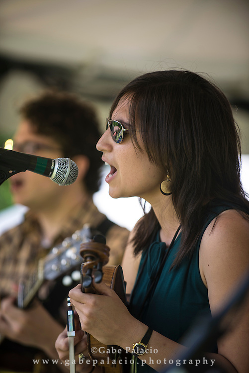 Andrea Asprelli (fiddle), Jason Borisoff (guitar), Doug Goldstein (banjo) and Jeff Picker (bass) of Cricket Tell the Weather perform on the Friends Field set at the American Roots Music Festival at Caramoor in Katonah New York on June 28, 2014. <br /> (photo by Gabe Palacio)