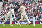 James Anderson of England looks to try and run out Ravindra Jadeja of India by kicking the ball at the stumps during day 3 of the 5th test match of the International Test Match 2018 match between England and India at the Oval, London, United Kingdom on 9 September 2018.