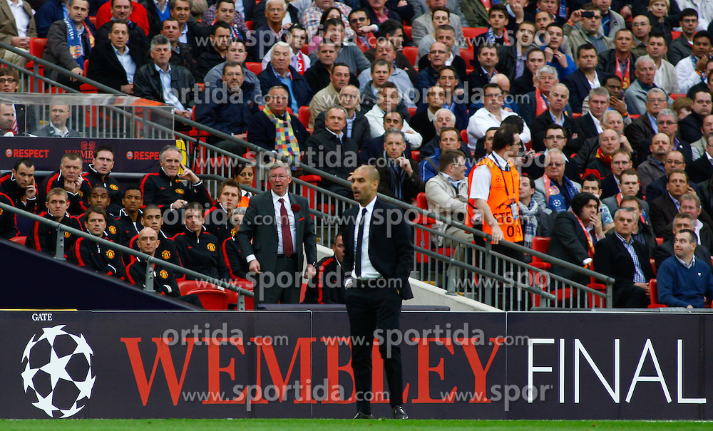 28.05.2011, Wembley Stadium, London, ENG, UEFA CHAMPIONSLEAGUE FINALE 2011, FC Barcelona (ESP) vs Manchester United (ENG), im Bild Manchester's manager Sir Alex Ferguson and Barcelona's manager Josep Guardiola during the 2011UEFA  Champions League final between Manchester United from England and FC Barcelona from Spain, played at Wembley Stadium London, EXPA Pictures © 2011, PhotoCredit: EXPA/ M. Gunn