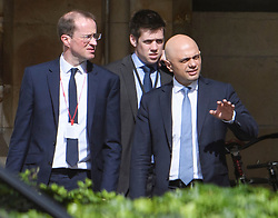© Licensed to London News Pictures. 17/06/2019. London, UK. Chief Executive of the Vote Leave MATTHEW ELLIOT (left) and Home Secretary SAJID JAVID (right) are seen at the Houses of Parliament in London. Boris Johnson has cemented his position as favourite to become the next Prime Minster after winning a landslide in the first round of the conservative party's leadership race. Photo credit: Ben Cawthra/LNP