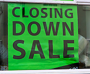Closing Down sale large shop window poster, England, UK