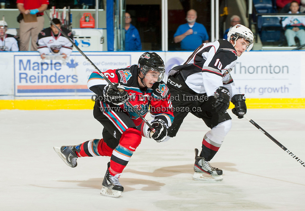 KELOWNA, CANADA - OCTOBER 3: Jesse Lees #2 of the Kelowna Rockets skates against Scott Cooke #10 of the Vancouver Giants at the Kelowna Rockets on October 3, 2012 at Prospera Place in Kelowna, British Columbia, Canada (Photo by Marissa Baecker/Getty Images) *** Local Caption *** Jesse Lees; Scott Cooke;