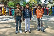 Indian boys in western clothes at Vishwanatha Temple (Birla Temple) in Festival of Shivaratri in holy city of Varanasi, India