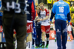 Injured during handball match between RK Celje Pivovarna Lasko (SLO) and SG Flensburg Handewitt (GER) in 12th Round of EHF Men's Champions League 2015/16, on February 20, 2016 in Arena Zlatorog, Celje, Slovenia. Photo by Urban Urbanc / Sportida