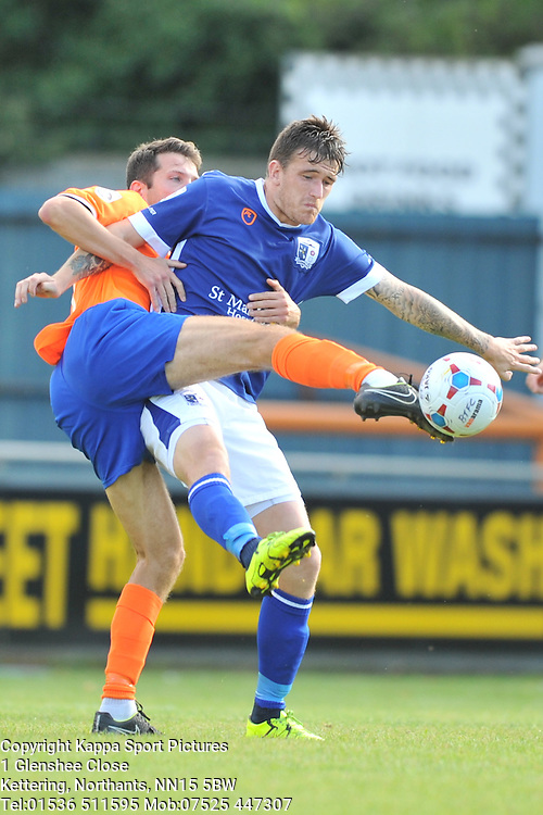 Braintree Mark Phillips holds of Barrows Andy Cook, Braintree Town v Barrow AFC, Avanti Stadium Braintree, Vanarama National League, Saturday, 12th September 2015.
