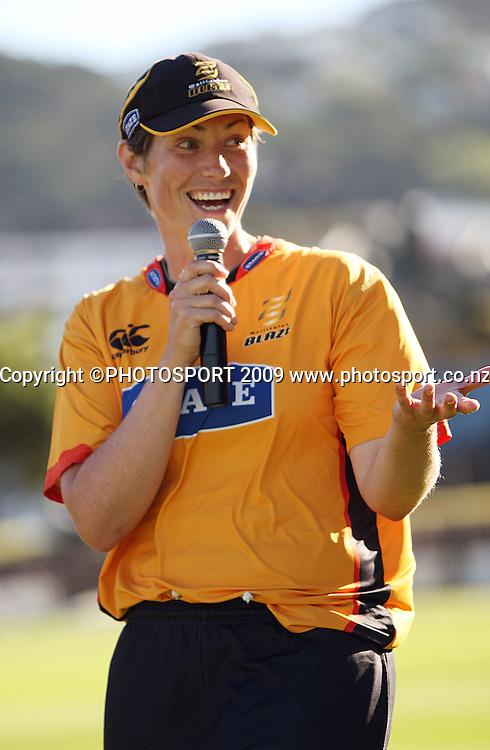 Wellington captain Anna Dodd.<br /> State League final. Wellington Blaze v Canterbury Magicians at Allied Prime Basin Reserve, Wellington. Saturday, 24 January 2009. Photo: Dave Lintott/PHOTOSPORT