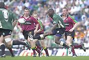 10/04/2002 - Powergen National Cup Final - Twickenham.London Irish vs Northampton..Exiles Paul Sackey, chips the ball over the saints defenders..