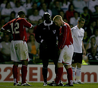 Photo: Steve Bond.<br />Derby County v Nottingham Forest. Pre Season Friendly. 31/07/2007.  Neil Lennon is spoken to by referee Uriah Rennie