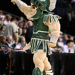 Mar 17, 2011; Tampa, FL, USA; The Michigan State Spartans mascot during the second half of the second round of the 2011 NCAA men's basketball tournament against the UCLA Bruins at the St. Pete Times Forum. UCLA defeated Michigan State 78-76.  Mandatory Credit: Derick E. Hingle