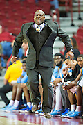 FAYETTEVILLE, AR - NOVEMBER 13:  Head Coach Roman Banks of the Southern University Jaguars jumps in the air in the first half during a game against the Arkansas Razorbacks at Bud Walton Arena on November 13, 2015 in Fayetteville, Arkansas.  (Photo by Wesley Hitt/Getty Images) *** Local Caption *** Roman Banks