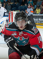 KELOWNA, CANADA - NOVEMBER 24:  Rourke Chartier #14 of the Kelowna Rockets skates on the ice against the  Saskatoon Blades at the Kelowna Rockets on November 24, 2012 at Prospera Place in Kelowna, British Columbia, Canada (Photo by Marissa Baecker/Shoot the Breeze) *** Local Caption ***
