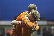 Cameron McGeehan of Luton Town (right) celebrates scoring his team's second goal against Barnet with Paul Benson of Luton Town (left) during the Sky Bet League 2 match at Kenilworth Road, Luton<br /> Picture by David Horn/Focus Images Ltd +44 7545 970036<br /> 14/11/2015