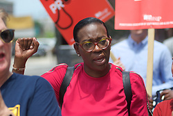 Bernie2020 campaign co-chair Sen. Nina Turner, joined by local politicians, hospital workers and union members protest the imminent closure of Hahnemann University Hospital at a rally outside the Center City facilities in Philadelphia, PA on July 11, 2019. The struggling Center City located hospital announced it will seize operations and is facing out critical services like Emergency access and the maternity ward unless support is found to end the financial turmoil