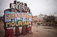 Salvation Mountain Roadside Sign, Imperial County near Niland, California