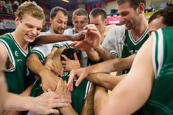 Brian Casey Mitchell of Olimpija with Jaka Blazic, Deon Thompson, Zeljko Zagorac, Gezim Morina, Goran Jagodnik, Vladimir Dasic celebrate after the basketball match between KK Helios Domzale and KK Union Olimpija Ljubljana in 2nd semifinal of Telemach Slovenian Champion League 2011/12, on May 10, 2012 in Arena Komunalni center, Domzale, Slovenia. Union Olimpija defeated Helios 81-78 after overtime and qualified to finals. (Photo by Vid Ponikvar / Sportida.com)