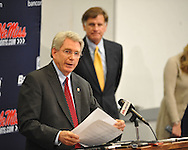 Mississippi Chancellor Dan Jones (left) speaks Mississippi athletic director Pete Boone listens at a press conference at the IPF at the University of Mississippi in Oxford, Miss. on Monday, November 7, 2011. Boone announced that head football coach Houston Nutt will not be retained following the season. Boone also announced that he will resign as athletic director by December 31, 2012.