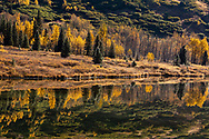 Autumn foliage reflected in Lower Summmit Lake in Southcentral Alaska. Afternoon.