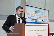 Nick Chapman, VEI Program Coordinator, NYC Dept. of Education, spekaing to students at Virtual Enterprises International's Global Business Challenge was part of the Youth Business Summit held at NYU's Kimmel Center in New York on April 1, 2014. (Photo: JeffreyHolmes.com)