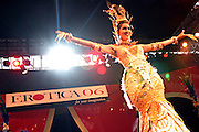 A member of ëThe Tiffany Showí, a group of transvestite dancers from Thailand, is performing on stage at the Erotica 2006 show in London, UK, on Friday, Nov. 17, 2006. Erotica is the world's largest adult lifestyle show. It attracts about 80,000 visitors every year with its over 150 retailer exhibitors, dazzling and decadent transvestite cabaret shows, fun foreplay seminars, beautiful lingerie collections, art and fetish demonstrations. **Italy Out**