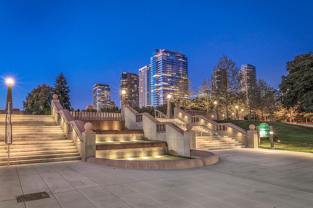 Downtown Park, Bellevue Wa, dusk skyline, beautiful dusk sunset,