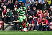 Forest Green Rovers Isaiah Osbourne(34) on the ball during the EFL Sky Bet League 2 match between Cheltenham Town and Forest Green Rovers at LCI Rail Stadium, Cheltenham, England on 14 April 2018. Picture by Shane Healey.