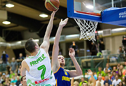 Klemen Prepelic of Slovenia vs Igor Zaytsev of Ukraine during friendly basketball match between National teams of Slovenia and Ukraine at day 3 of Adecco Cup 2014, on July 26, 2014 in Rogaska Slatina, Slovenia. Photo by Vid Ponikvar / Sportida.com