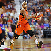 UNCASVILLE, CONNECTICUT- MAY 26:  Jasmine Thomas #5 of the Connecticut Sun in action during the Los Angeles Sparks Vs Connecticut Sun, WNBA regular season game at Mohegan Sun Arena on May 26, 2016 in Uncasville, Connecticut. (Photo by Tim Clayton/Corbis via Getty Images)