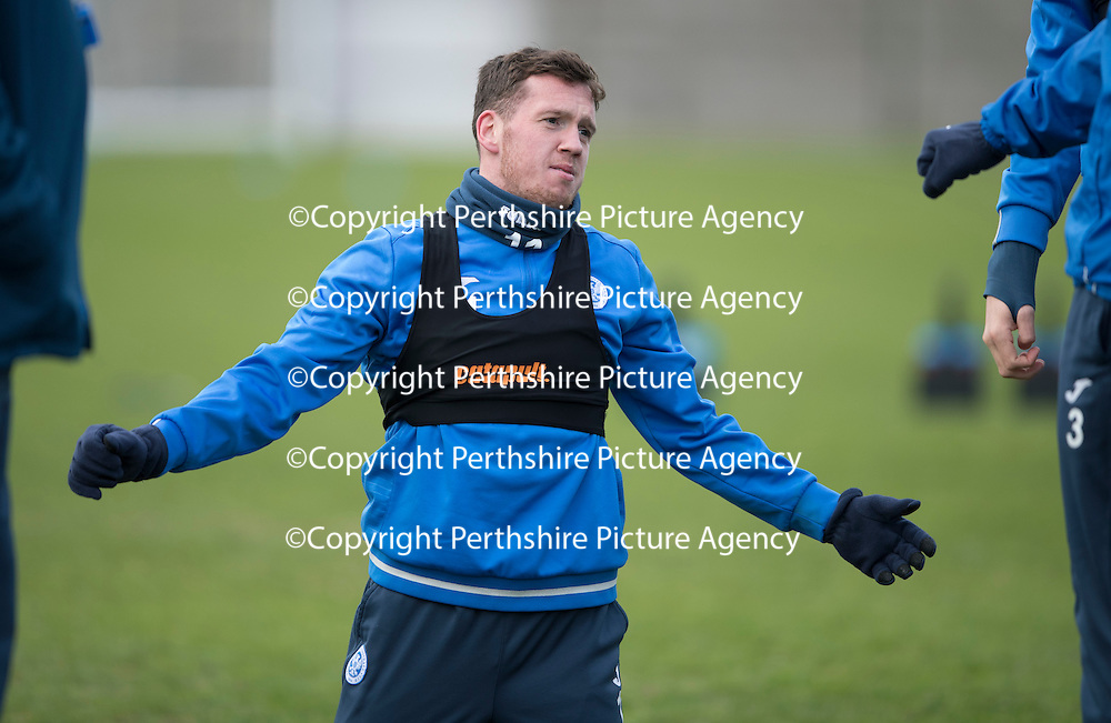 St Johnstone Training…30.12.16<br />Danny Swanson pictured during training this morning ahead of tomorrow's game against Dundee<br />Picture by Graeme Hart.<br />Copyright Perthshire Picture Agency<br />Tel: 01738 623350  Mobile: 07990 594431