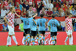 Spain's Jesus Navas (nr22) celebrates with team mates after scoring during the UEFA EURO 2012 Group C football match between Spain and Croatia at Gdansk Arena in Gdansk on June 18, 2012...Poland, Gdansk, June 18, 2012..Picture also available in RAW (NEF) or TIFF format on special request...For editorial use only. Any commercial or promotional use requires permission...Photo by © Adam Nurkiewicz / Mediasport