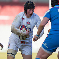 Rochelle Clark in action, England Women v Italy Women in Women's 6 Nations Match at Twickenham Stoop, Twickenham, England, on 15th February 2015. Final score 39-7.