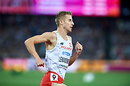Great Britain, London - 2017 August 13: Marcin Lewandowski (CWZS Zawisza Bydgoszcz) of Poland competes in men's 1500 meters final during IAAF World Championships London 2017 Day 10 at London Stadium on August 13, 2017 in London, Great Britain.<br /> <br /> Mandatory credit:<br /> Photo by © Adam Nurkiewicz<br /> <br /> Adam Nurkiewicz declares that he has no rights to the image of people at the photographs of his authorship.<br /> <br /> Picture also available in RAW (NEF) or TIFF format on special request.<br /> <br /> Any editorial, commercial or promotional use requires written permission from the author of image.