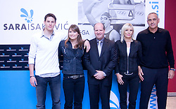 Sara Isakovic and her family: brother Gal, Sara, Borut Farcnik of SiSport, mother Rebeka and father Nenad at press conference when she has signed a contract with SI Sport, on December 22, 2008, Grand hotel Union, Ljubljana, Slovenia. (Photo by Vid Ponikvar / SportIda).