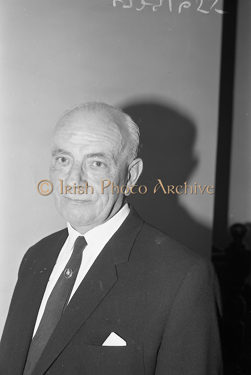 11/10/1966<br /> 10/11/1966<br /> 11 October 1966<br /> Press conference to announce merger of Dublin Dairies at Jury's Hotel, Dublin. Directors of three Dublin Dairies, Dublin Dairies Ltd., Merville Dairies Ltd. and Sutton's Tel-el-Kebir Dairy Ltd., announced the merger subject to ratification by shareholders. A new company, Premier Dairies Ltd. had been created to co-ordinate the three companies. Picture shows:  Mr. George Sutton, Director of Suttons Tel-el-Kebir Ltd. at the meeting.