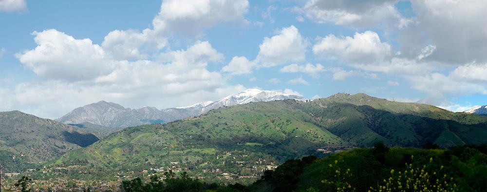 Snow-Capped Mount Baldy and San Gabriel Mountains, Glendora, California
