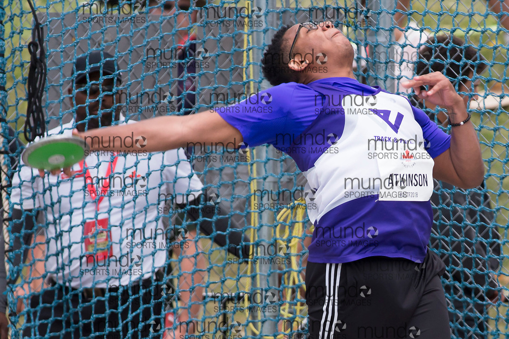 OTTAWA, ON -- 06 July 2018: Anthony Atkinson throwing in the U20 discus at the 2018 Athletics Canada National Track and Field Championships held at the Terry Fox Athletics Facility in Ottawa, Canada. (Photo by Sean Burges / Mundo Sport Images).
