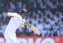 July 22, 2018 - Sri Lanka - Sri Lankan cricketer Dimuth Karunaratne plays a shot during the third day of the second Test match between Sri Lanka and South Africa at the Sinhalese Sports Club (SSC) international cricket stadium in Colombo,Sri Lanka  on July 22, 2018. (Credit Image: © Pradeep Dambarage/Pacific Press via ZUMA Wire)