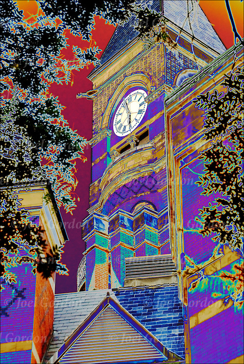 Colorful abstract of the Victorian Gothic architectural style of the Jefferson Market Library in Greenwich Village which is a New York City Landmark.