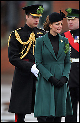 The Duchess of Cambridge and Prince William attend The Irish Guards' St Patrick's Day Parade with the shamrock being presented by HRH The Duchess of Cambridge, Sunday March 17, 2013. Photo By Andrew Parsons / i-Images