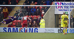 LONDON, ENGLAND - Saturday, February 9, 2013: Tranmere Rovers' goalkeeper Owain Fon Williams is beaten for Leyton Orient's second goal during the Football League One match at Brisbane Road. (Pic by David Rawcliffe/Propaganda)