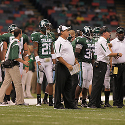 20 September 2008: Tulane Head Coach Bob Toledo (center) on the sidelines during a Conference USA match up between the University of Louisiana Monroe and Tulane at the Louisiana Superdome in New Orleans, LA.
